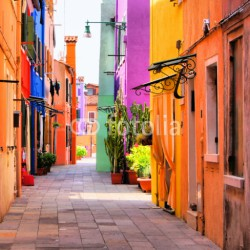 Fototapety Colorful street in Burano, near Venice, Italy