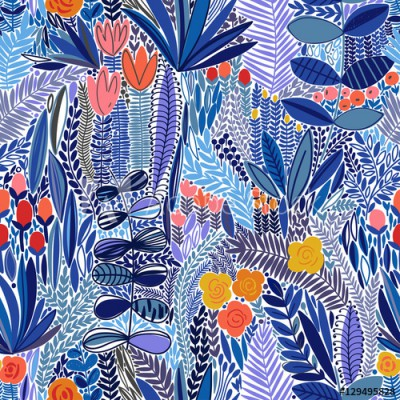 Fototapeta Tropikalny kwiatowy wzór (129495828)