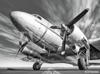 Fototapeta Zabytkowy samolot na pasie startowym (137364468)