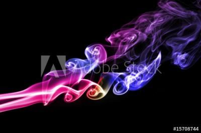 Fototapeta Wielokolorowy dym na czarnym tle (15708744)