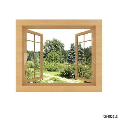 Fototapeta Okno z widokiem na piękny ogród (20952613)