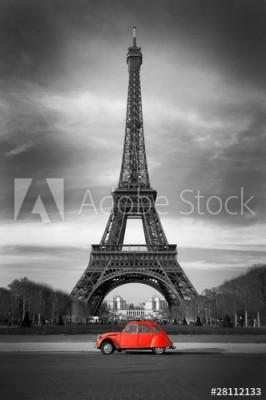 Fototapeta Wieża Eiffel i czerwony samochód (28112133)
