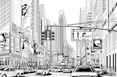 Fototapeta Rysunkowa ulica w Nowym Jorku (39334170)