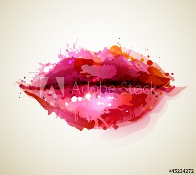 Fototapeta Piękne usta kobiety z abstrakcyjnych plam (45234272)