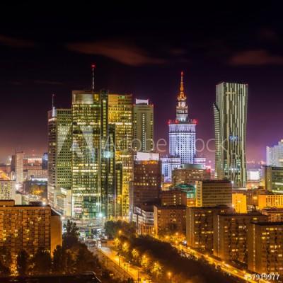 Fototapeta Warszawskie centrum nocą (57919977)