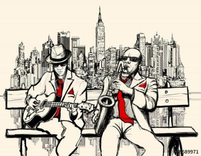 Fototapeta Dwóch jazzmanów grających w Nowym Jorku (58689971)