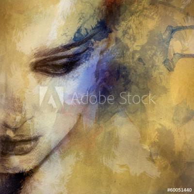 Fototapeta Akwarelowa piękna twarz kobiety (60051440)